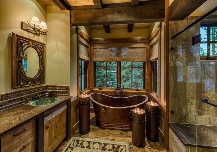 Luxurious Rustic Bathroom Decoration Ideas #rusticbathroom #rusticdecor #decorhomeideas