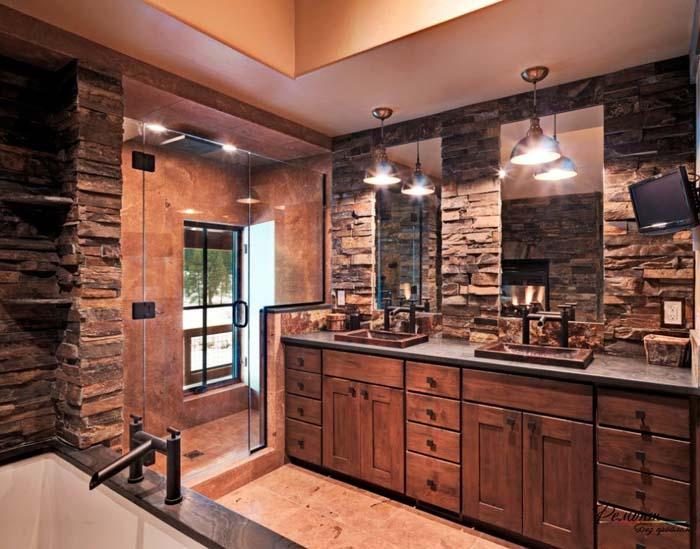 Masculine Bath with Dark Stone and Walk-in Shower #rusticbathroom #rusticdecor #decorhomeideas