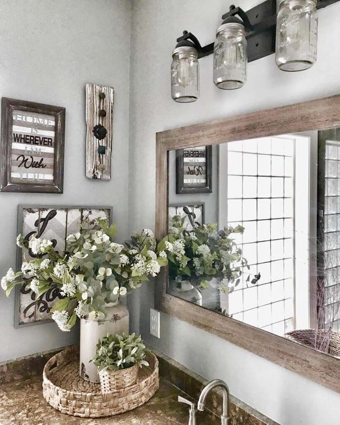 Mason Jar Lights and Rustic Wooden Features #rusticbathroom #rusticdecor #decorhomeideas