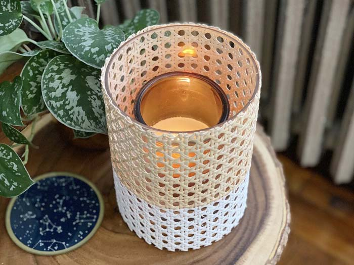 Rattan Cane Webbing Wrapped Candle Vessel #candledecorations #candles #homedecor #decorhomeideas