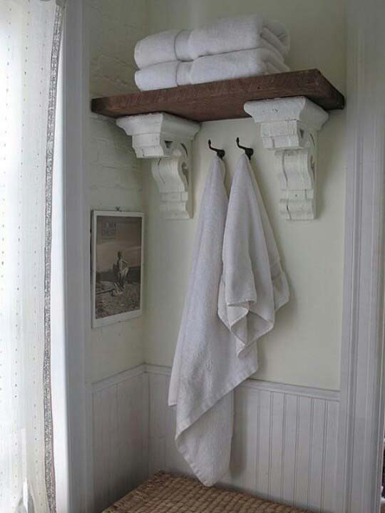 Reclaimed Cornice Shelving #rusticbathroom #rusticdecor #decorhomeideas