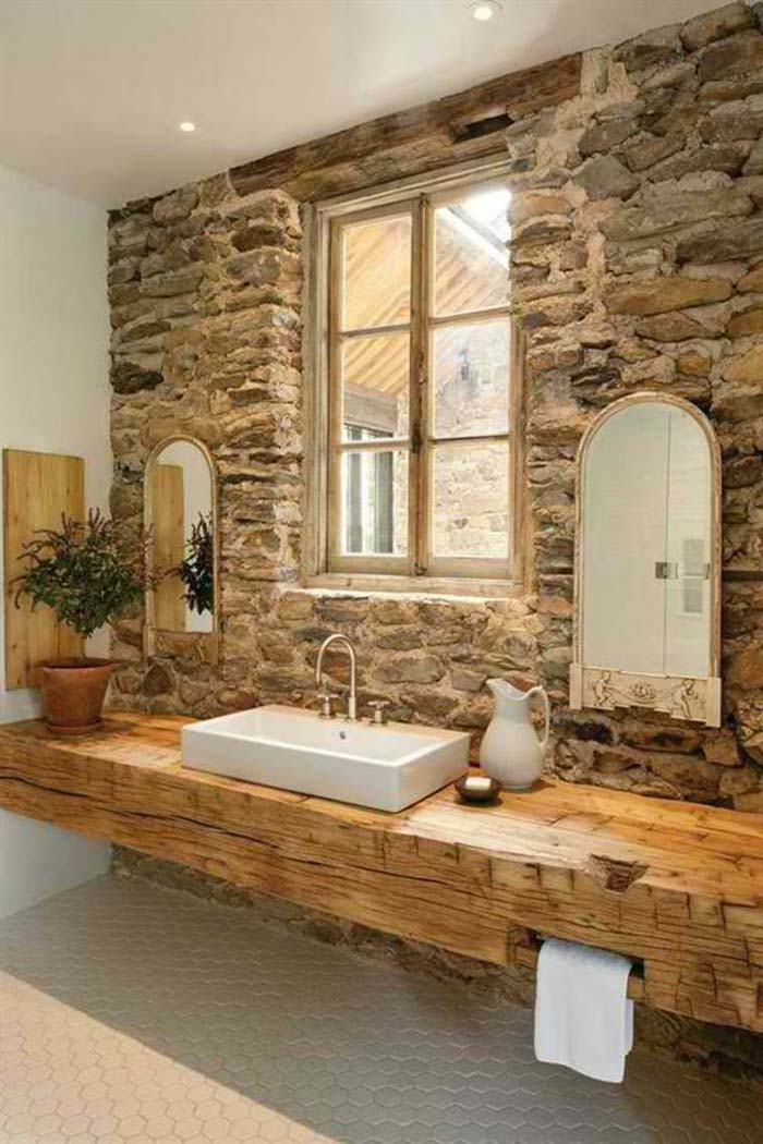 Rough Stone Accent Wall With Solid Beam Vanity #rusticbathroom #rusticdecor #decorhomeideas