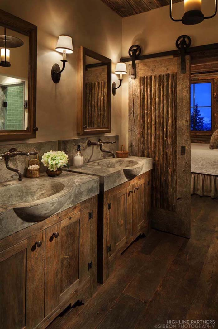 Rustic Bathroom Decor with Concrete Sinks and Barn Door #rusticbathroom #rusticdecor #decorhomeideas