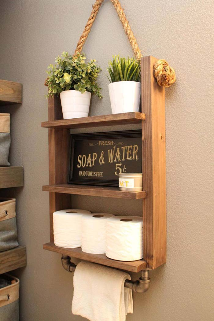Simple and Industrial Large Wooden Wall Shelf #rusticbathroom #rusticdecor #decorhomeideas