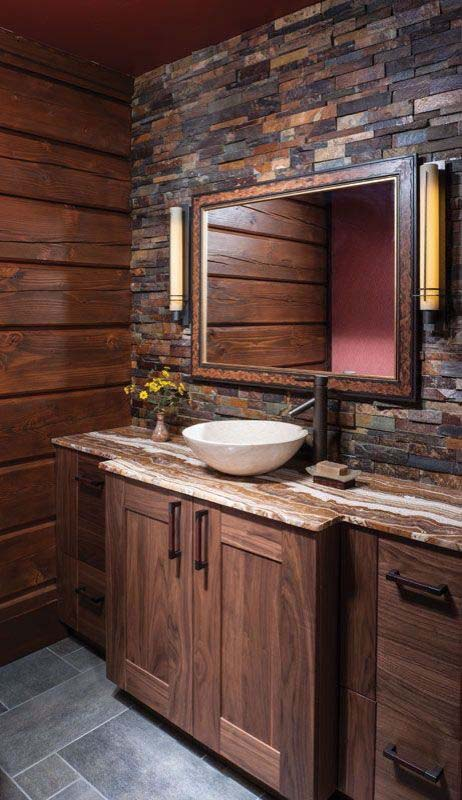 Slate Mosaic Accent Wall #rusticbathroom #rusticdecor #decorhomeideas