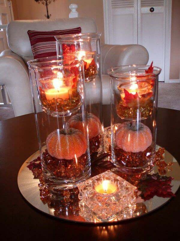 Sophisticated Fall Pumpkins with Candles #candledecorations #candles #homedecor #decorhomeideas