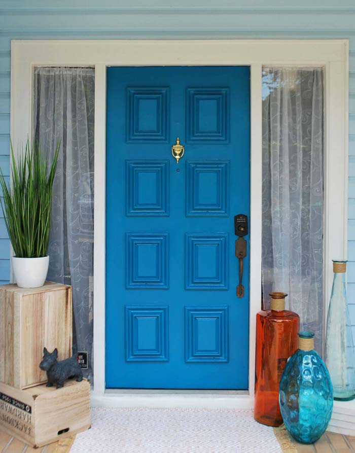 Squares in Blue with Pretty Glasses #frontdoorcolor #frontdoor #paintcolor #decorhomeideas