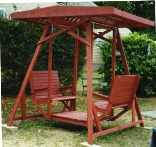 Swing for Two with an Awning #gardenswing #swingplans #decorhomeideas