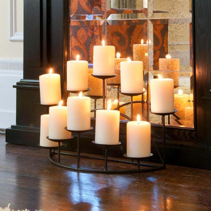 Twice the Light with a Well-Placed Mirror #candledecorations #candles #homedecor #decorhomeideas