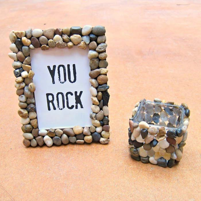 Use Your Glue Gun for Easy Home Gifts #homedecor #pebbles #rocks #decorhomeideas