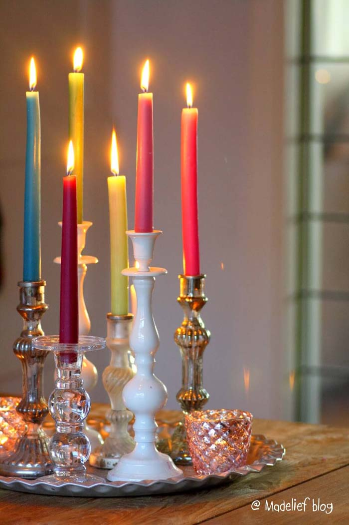 Vintage Holders, Festive Tapers Candles #candledecorations #candles #homedecor #decorhomeideas