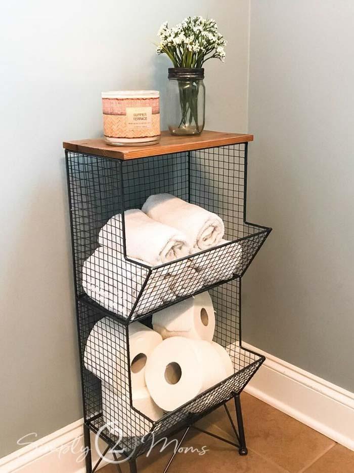 Wired for Organizing Your Bathroom Goodies #rusticbathroom #rusticdecor #decorhomeideas