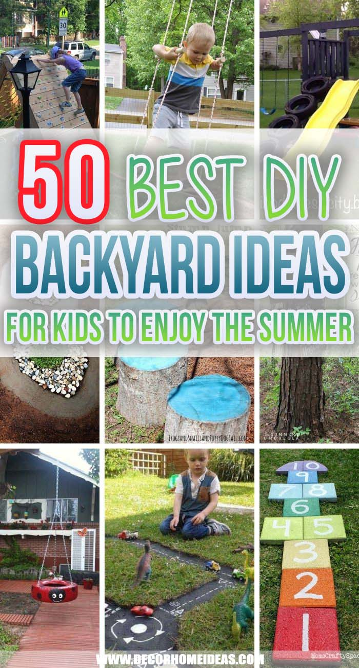 Best Backyard Ideas For Kids. Would you like your kid to spend more time playing outdoors and get them off the tablet or iPad? These fantastic DIY backyard ideas for kids are easy to recreate and will guarantee a lot of fun for the kids. #decorhomeideas