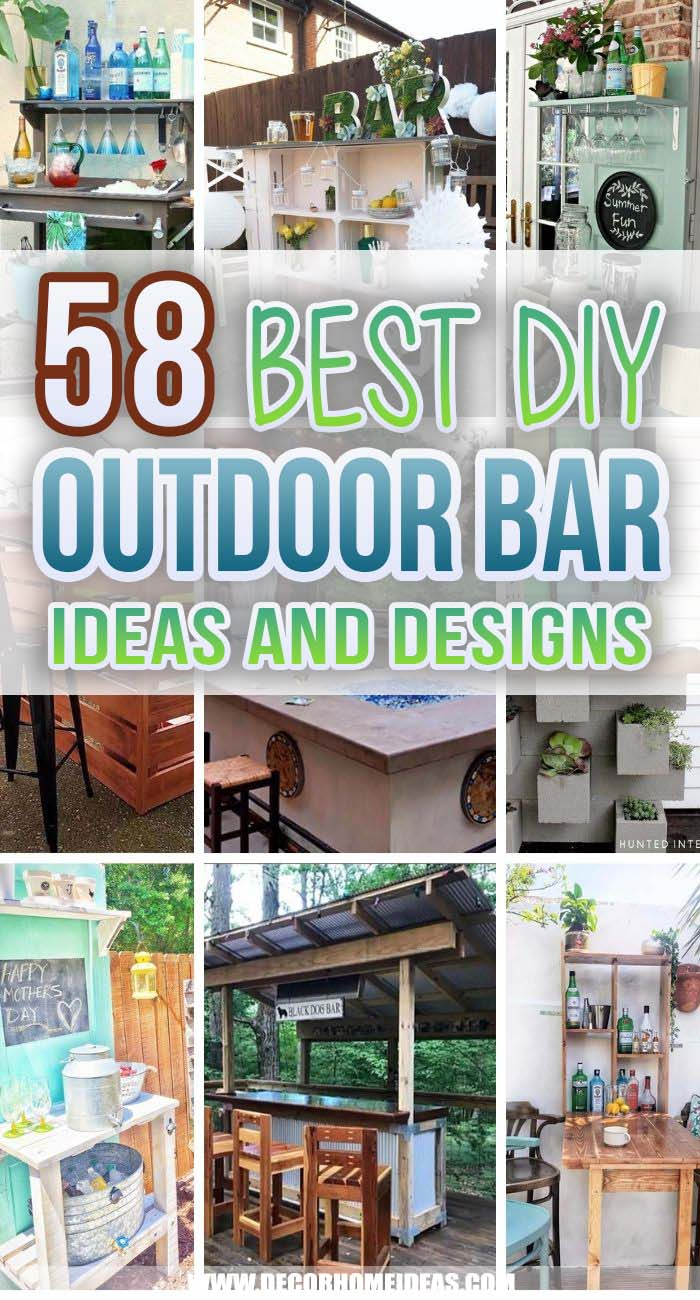 Best DIY Outdoor Bar Ideas. Have you been thinking about building a backyard bar? From DIY simple to expensive and elaborate, we've got a mix of outdoor bars you need to see. #decorhomeideas