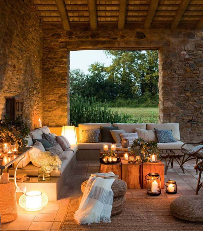 Covered Rustic Stone Patio with Candles #rusticpatioideas #rusticpatio #decorhomeideas