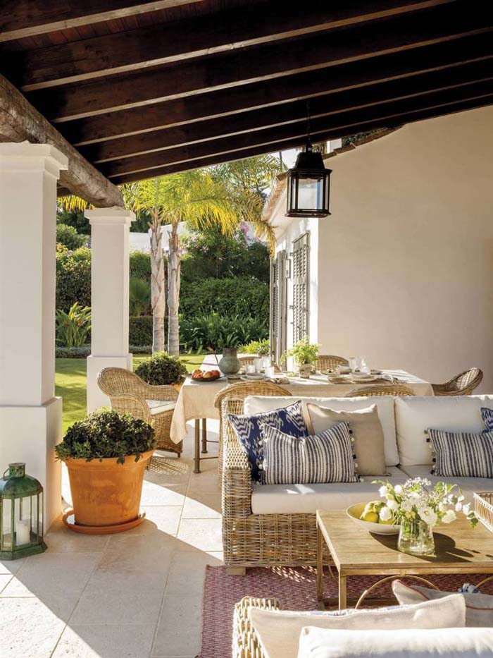 Grand Rustic Patio with Seating and Dining #rusticpatioideas #rusticpatio #decorhomeideas