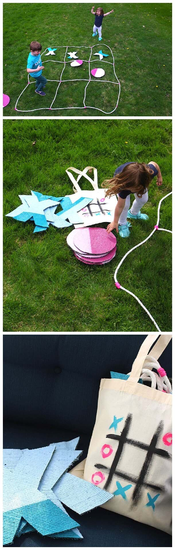 Pack and Carry Tic-Tac-Toe Set #diybackyardgames #outdoorgames #decorhomeideas