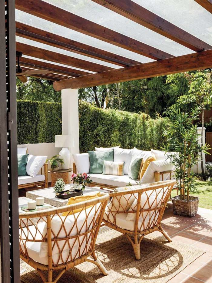 Wood Beams and White Accents #rusticpatioideas #rusticpatio #decorhomeideas