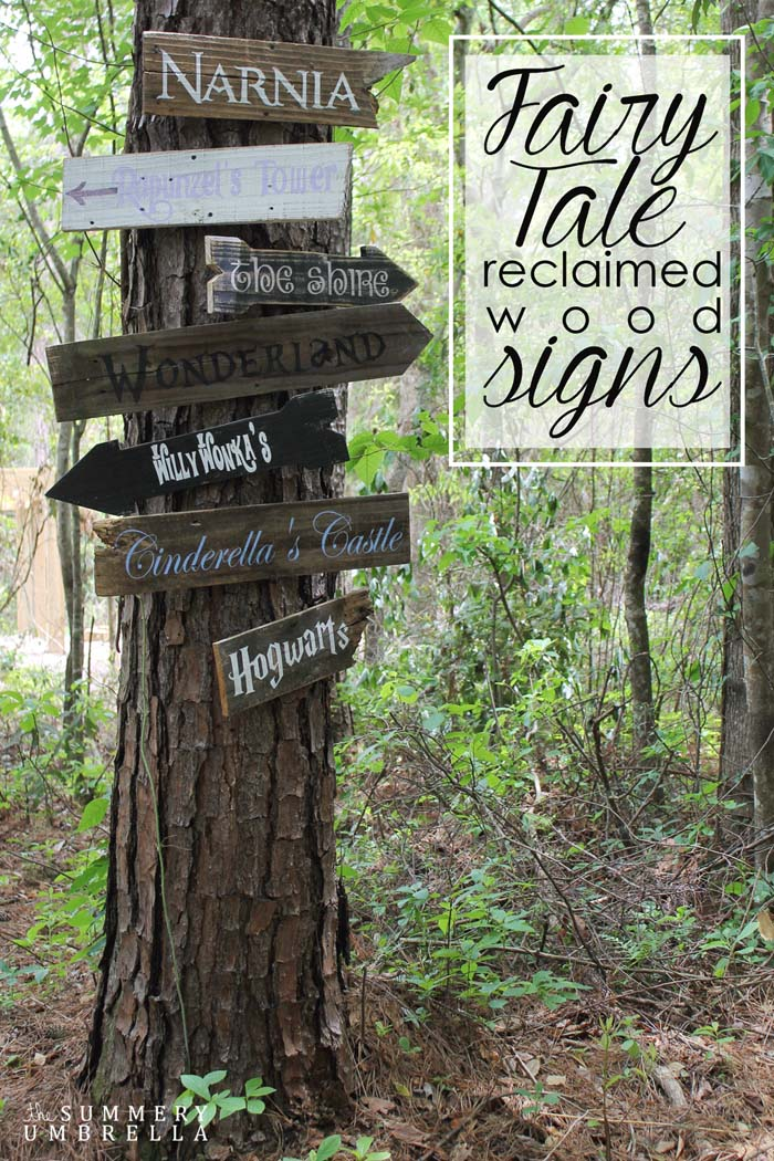 Wooden Signs Pointing to Favorite Childhood Locations #backyardkidsgames #diybackyardgames #decorhomeideas