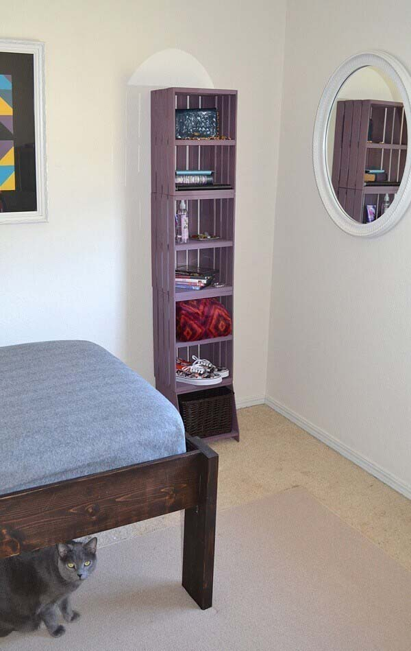 Accessorize Your Bedroom with Portable Standing Shelf #diywoodcrateprojects #diywoodcrateideas #decorhomeideas
