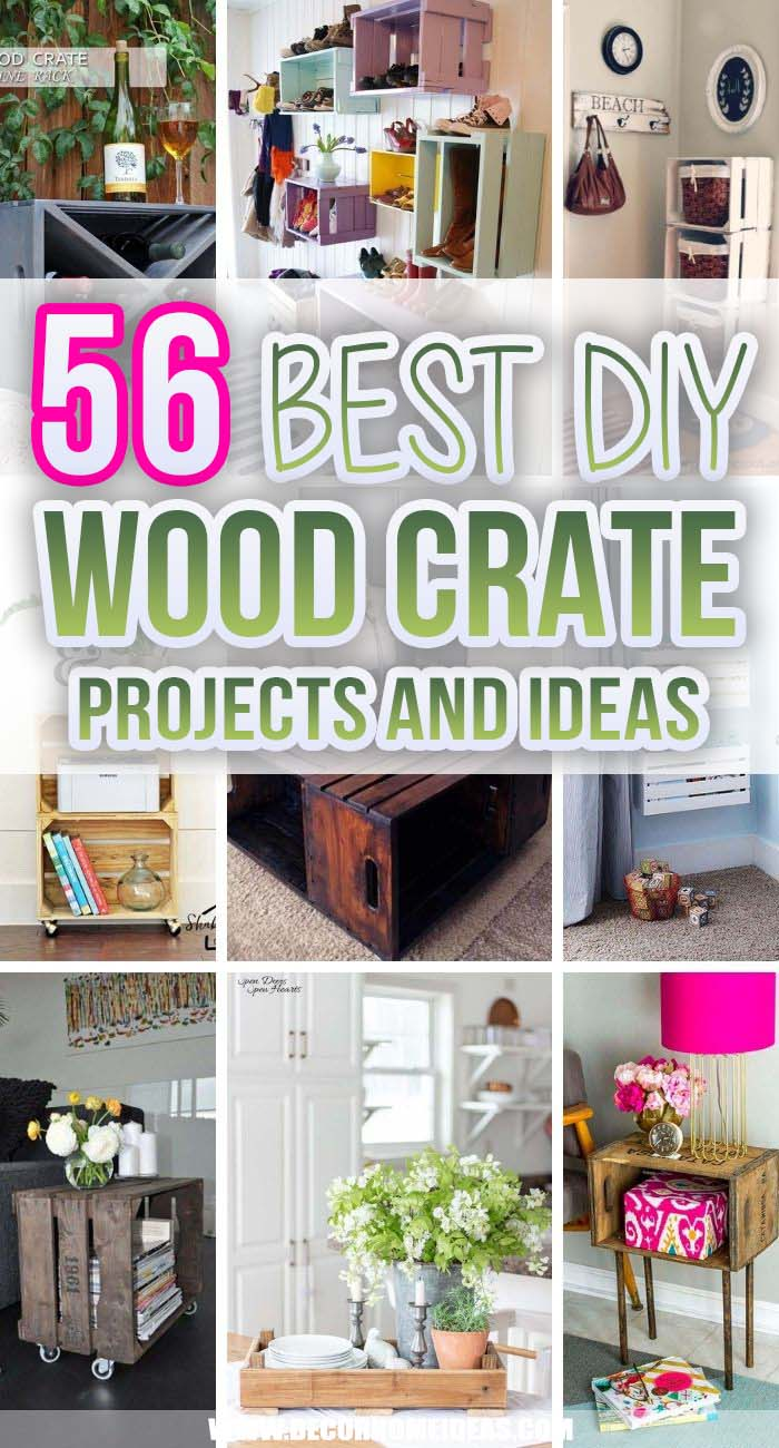 Best DIY Wood Crate Projects And Ideas. New or old, wooden crates are great for DIY lovers! There are many options on what you can use with them, from storage ideas to coffee tables, side tables, flower planters, balcony wooden benches, etc.  #decorhomeideas