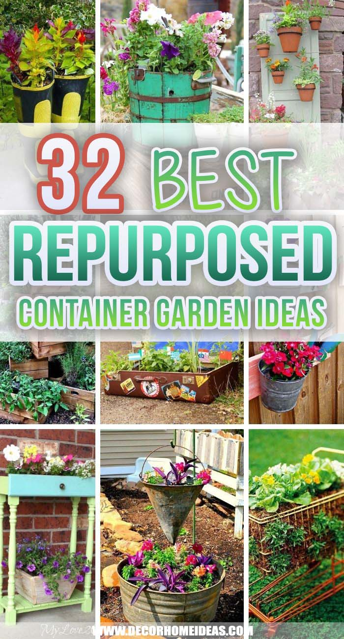 Best Repurposed Garden Container Ideas. Repurposed garden container ideas to bring color, vibrance and individual styles to your yard. These repurposed planters are a budget-friendly way to update your garden. #decorhomeideas