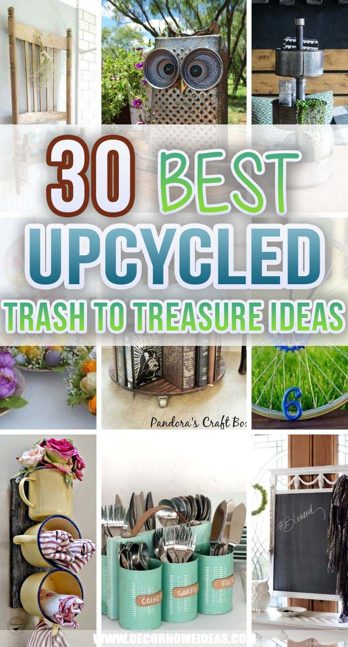 Best Upcycled Trash To Treasure Ideas. DIY upcycled trash projects could save you a lot of money. Think again before dumping any old utensils, furniture or storage boxes. These ideas are easy and simple to do. #decorhomeideas