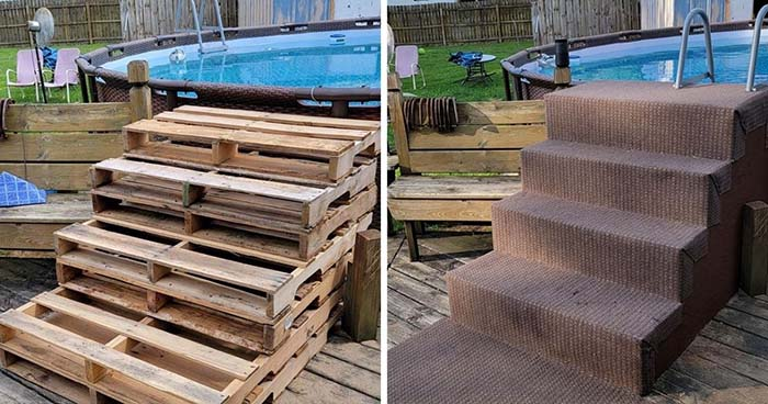 Cheap Above Ground Pool Steps From Old Pallets