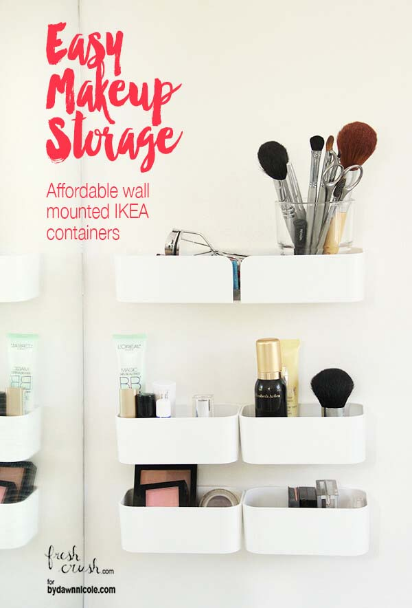 Cheap and Chic Wall Containers for Cosmetics #IKEAhacks #IKEAfurniture #decorhomeideas