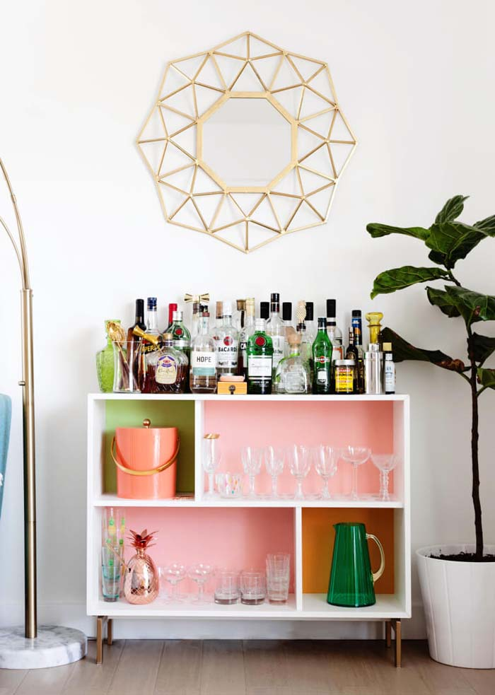 Colorful Modern Drink Station with Cubicle Shelves #IKEAhacks #IKEAfurniture #decorhomeideas