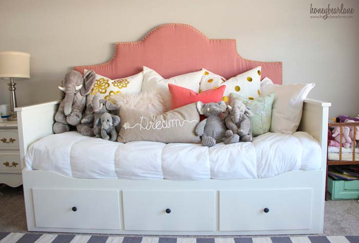 Convertible Bed-Sofa With Cute Drawers #IKEAhacks #IKEAfurniture #decorhomeideas