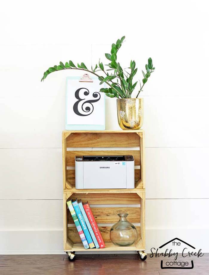 Creative Wood Crate Stand for Hobby Storage #diywoodcrateprojects #diywoodcrateideas #decorhomeideas