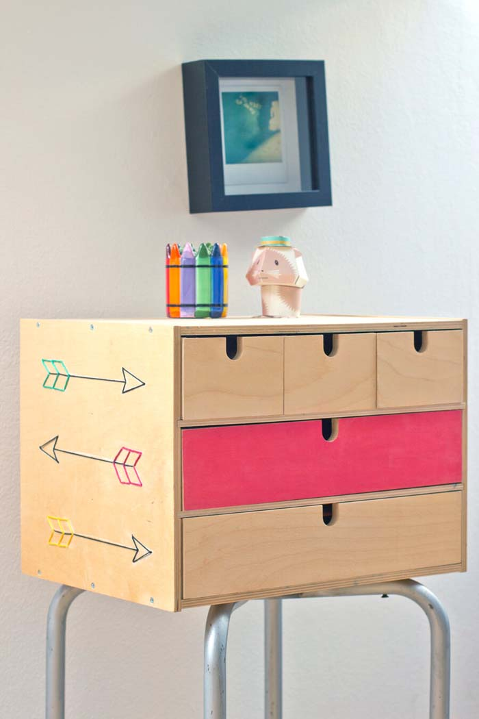 Cute and Organizational Standing Box with Drawers #IKEAhacks #IKEAfurniture #decorhomeideas