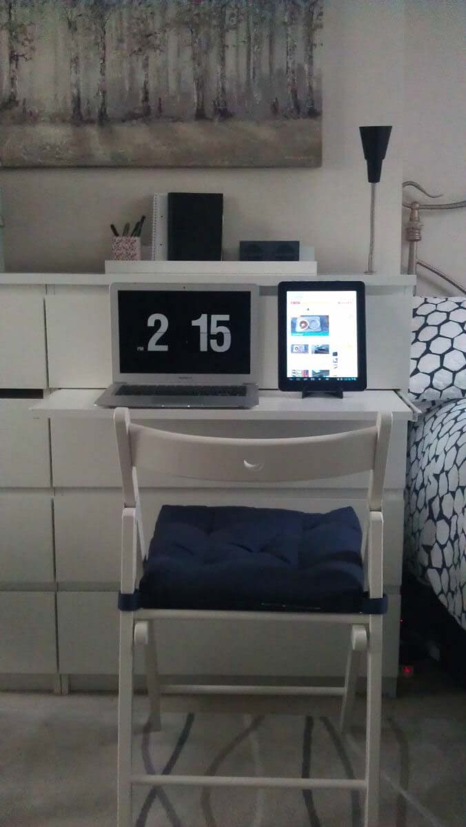 Dresser with Thin Sliding Projecting Desk #IKEAhacks #IKEAfurniture #decorhomeideas