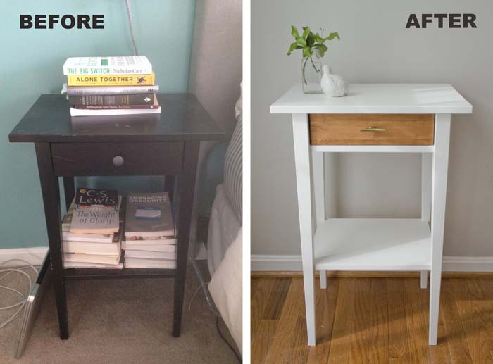 Easy and Fancy Nightstand Makeover #IKEAhacks #IKEAfurniture #decorhomeideas