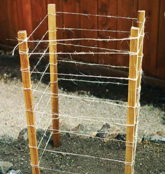 Easy DIY Stake And Twine Plant Cage #plantsupport #tomatocage #decorhomeideas