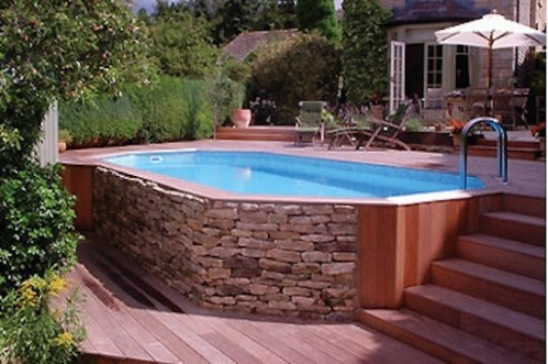 Enclose the Pool with Some Lovely Stonework #poolhacks #diypool #decorhomeideas