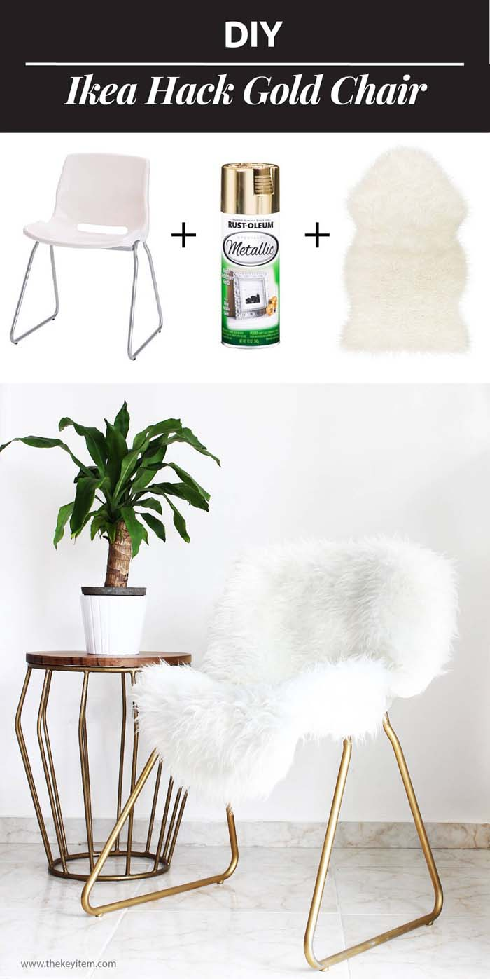 Fluffy Cloud Seat with Gold #IKEAhacks #IKEAfurniture #decorhomeideas