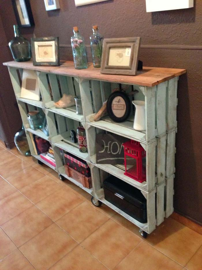 From Crates to Console Table #diywoodcrateprojects #diywoodcrateideas #decorhomeideas