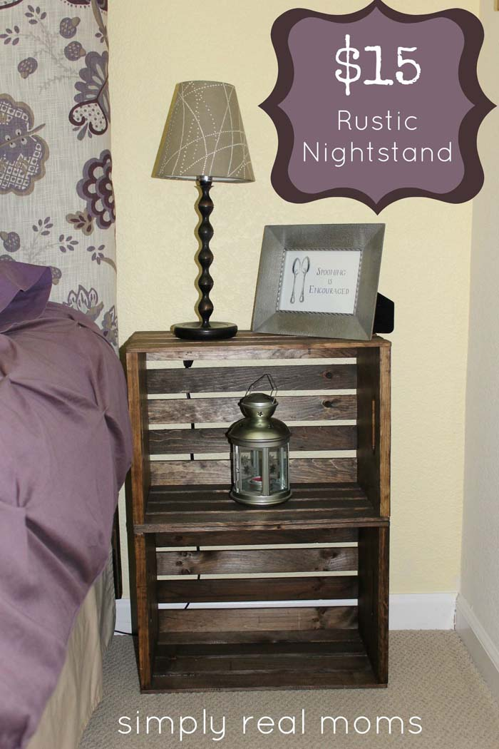 From Wood Crate to Rustic Nightstand #diywoodcrateprojects #diywoodcrateideas #decorhomeideas