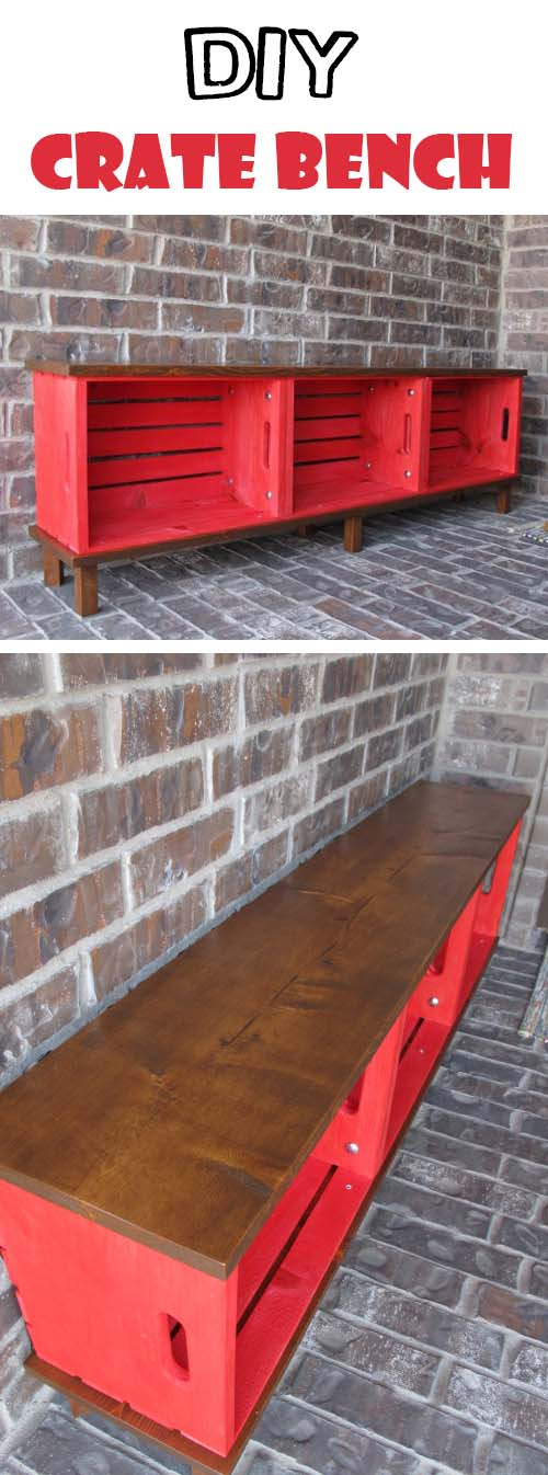 Functional Furniture: Crate Bench Project #diywoodcrateprojects #diywoodcrateideas #decorhomeideas