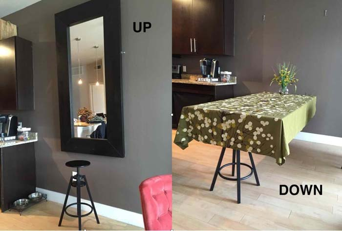 Painless and Snazzy Convertible Mirror-Table #IKEAhacks #IKEAfurniture #decorhomeideas