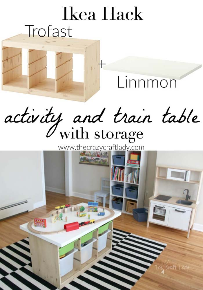 Rectangular Activity Table with Accessible Shelves #IKEAhacks #IKEAfurniture #decorhomeideas