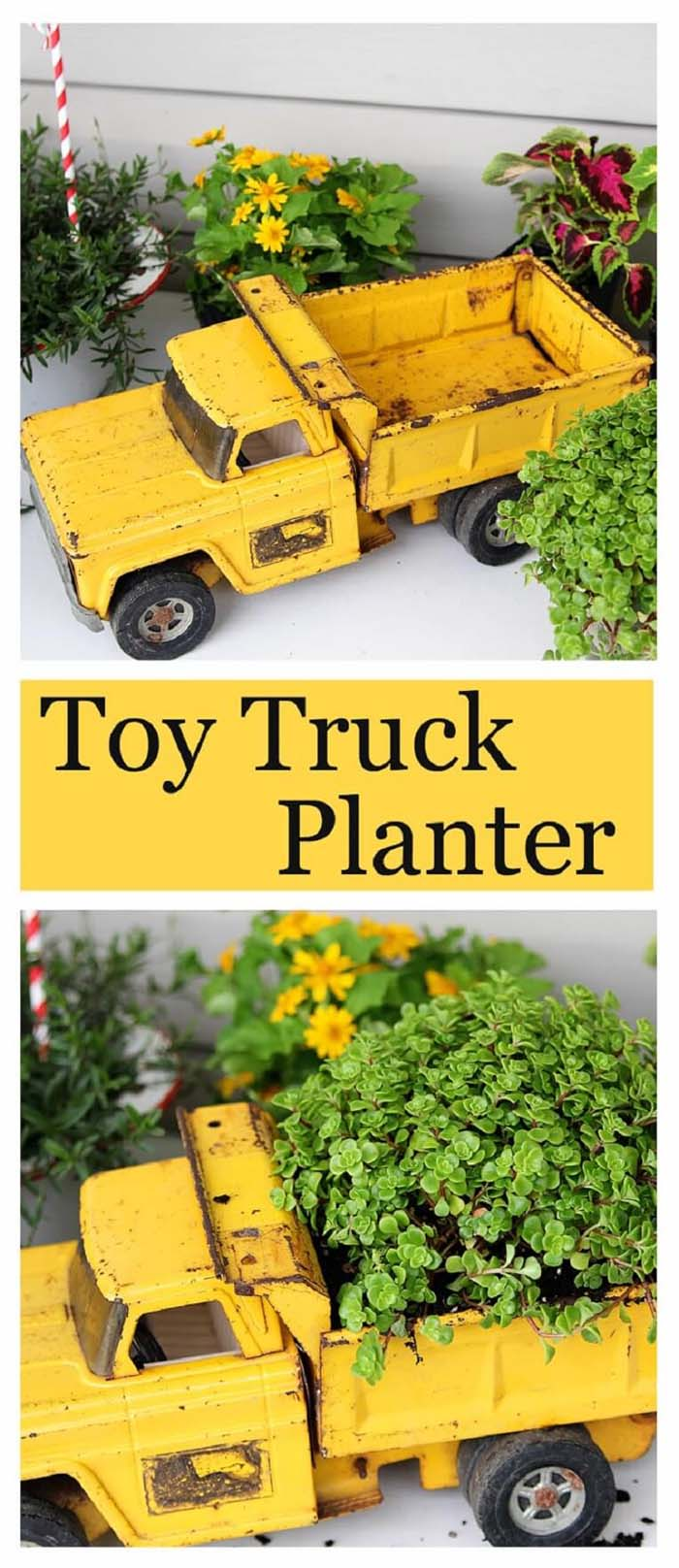 Repurposed Garden Container Ideas with a Toy Truck #repurposedplanter #repurposedcontainer #decorhomeideas