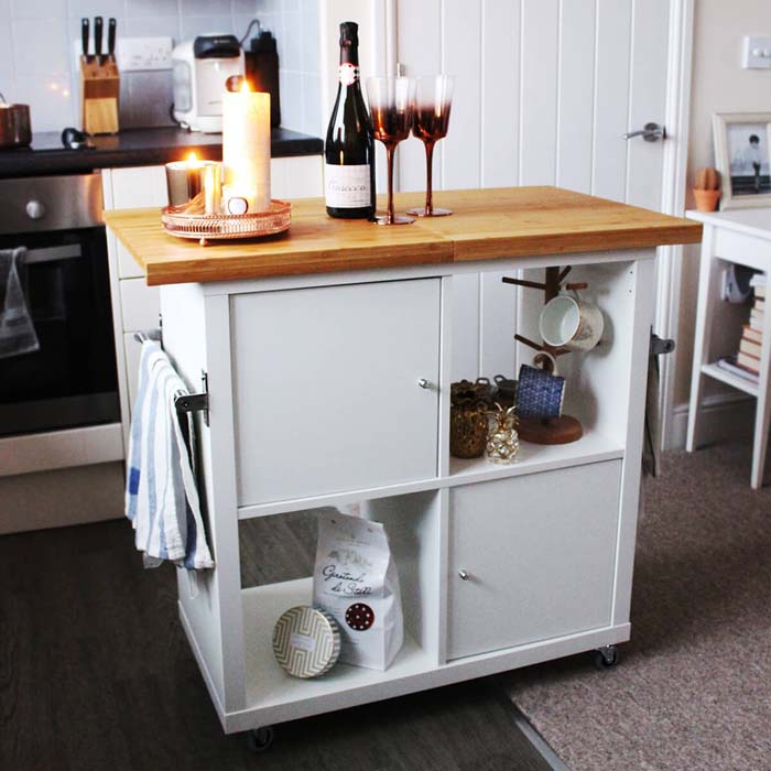 Rolling Treat-Stand with Polished Wood Top #IKEAhacks #IKEAfurniture #decorhomeideas