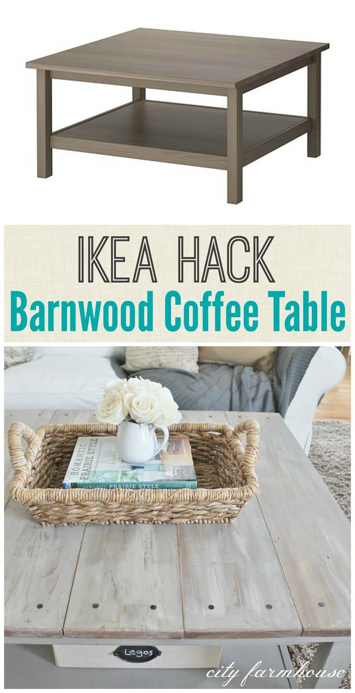 Rustic Coffee Table with Suspended Shelves #IKEAhacks #IKEAfurniture #decorhomeideas
