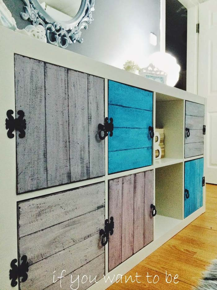 Rustic Wall Cabinet with Fancy Black Hinges #IKEAhacks #IKEAfurniture #decorhomeideas