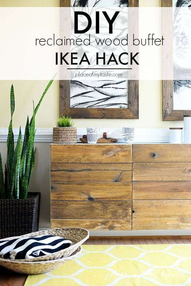 Rustic Wooden Wall Stand with Horizontal Drawers #IKEAhacks #IKEAfurniture #decorhomeideas