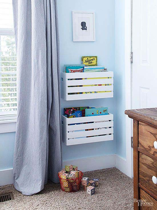 Simple and Unexpected Book Storage #diywoodcrateprojects #diywoodcrateideas #decorhomeideas