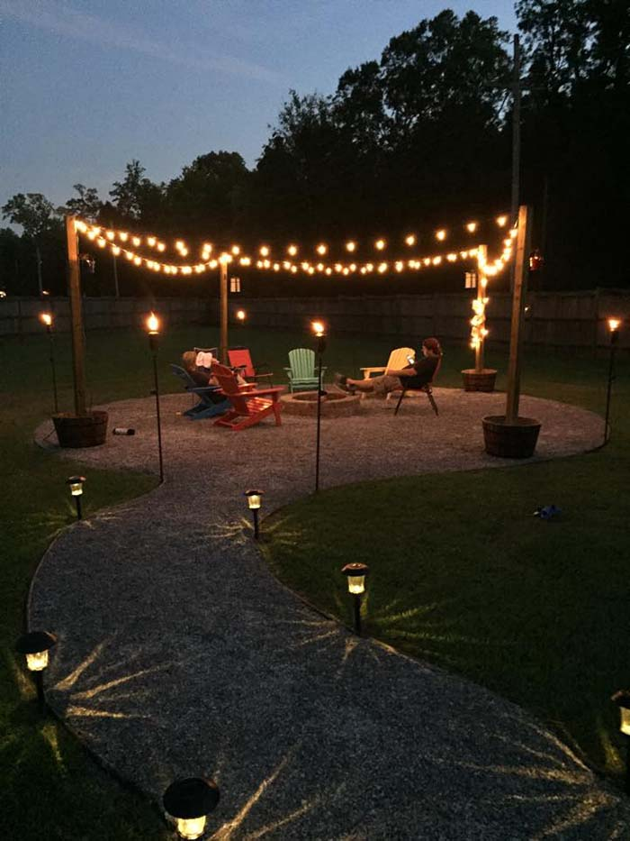 Simple Backyard Idea with DIY Fire Pit and Seating Area #backyard #outdoorspaces #decorhomeideas